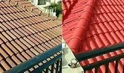 屋面水泥瓦翻新,表面直接刷外墙漆成型,防水色泽好
