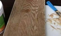 实测:看一看汉林水性腻子修补家具底层和防下馅性能真心不错!