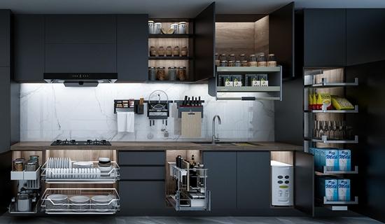 廚房收納實力之王-悍高廚房功能五金黑鉆系列,助你輕松收納廚房樂翻天