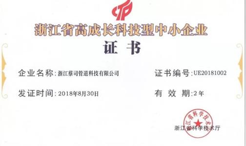 """龙越管道喜讯:热烈祝贺我公司被认定为""""高新技术企业""""""""浙江省高成长科技型中小企业"""""""