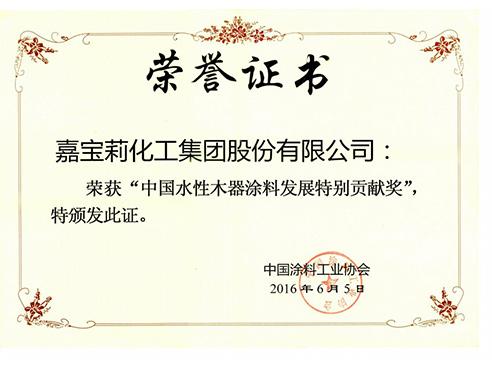 中国水性木器涂料发展特别贡献奖