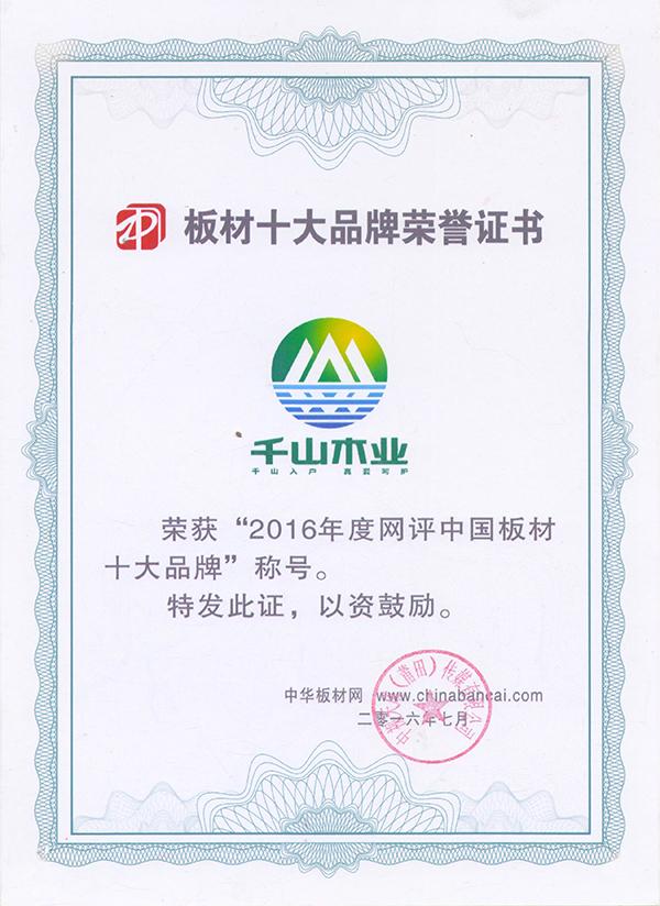 板材十大品牌荣誉证书