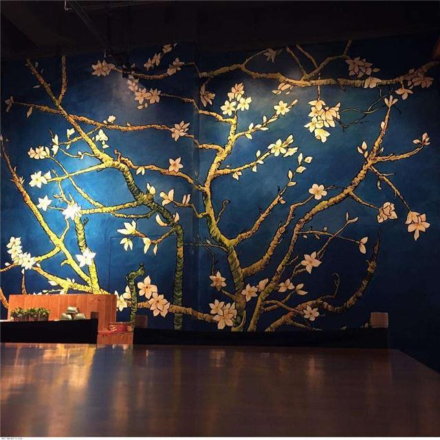 墙体彩绘手绘壁画蓝天白云幼儿园手绘