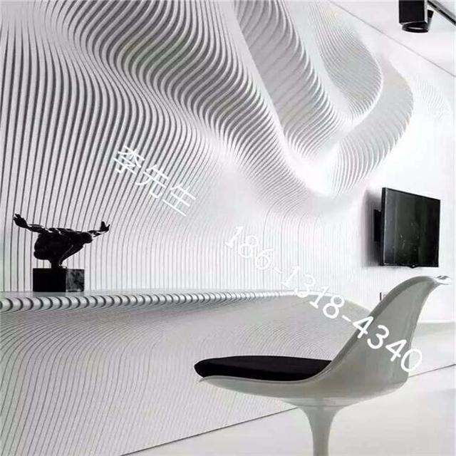 收银台背景墙造型铝方通定制