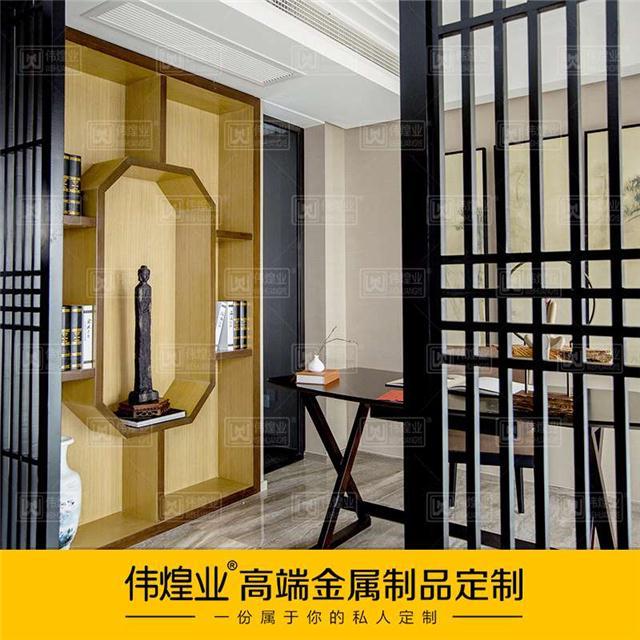客厅金属屏风隔断定制款中式不锈钢玄关隔断钛金金属屏风隔断办公