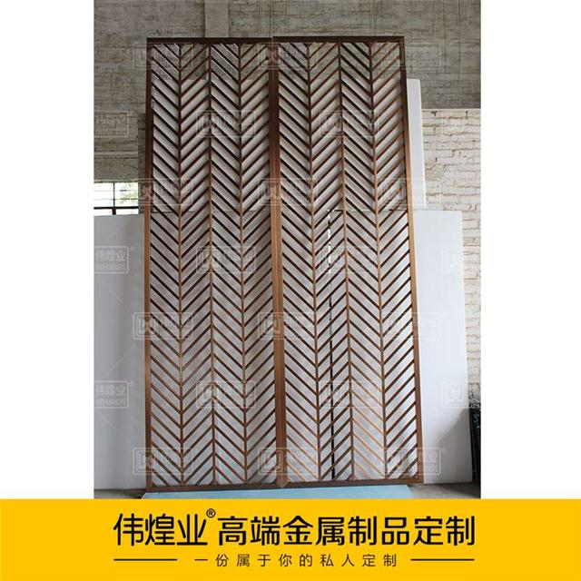 欧式客厅金属屏风隔断定制款中式不锈钢玄关隔断钛金金属屏风隔断