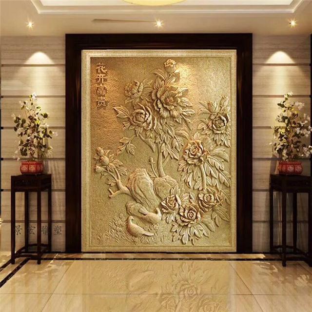 全新的新中国风室内幕墙金属装饰及浮雕壁画图片