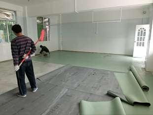 广东中山华邦维彩系列v-9830深灰色PVC环保耐磨胶地板.