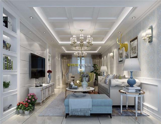 时尚简欧风格客厅集成墙面设计效果图