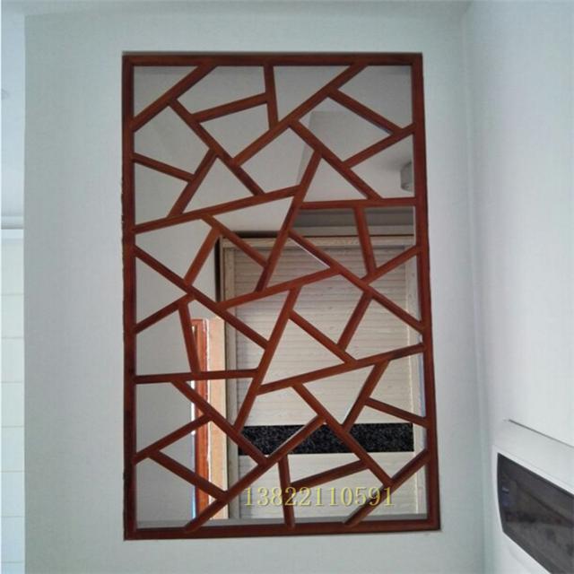 厂家铝定制合金方管焊接窗花 中国风防盗木纹铝窗花