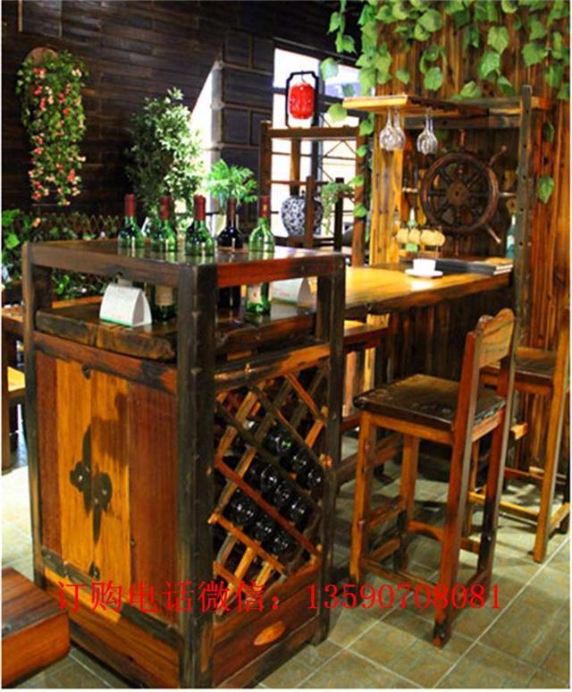 老船木吧台家用小吧台实木酒吧吧台椅组合