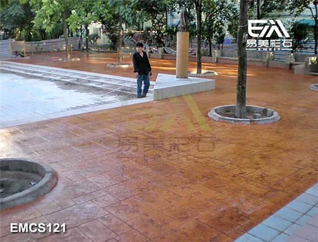 彩色混凝土压模地坪 水泥地坪未干施工