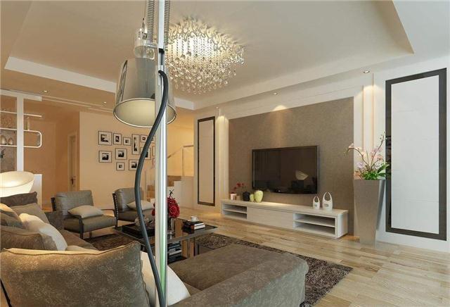 结合房屋其他家具如沙发,床的巨细设定适宜面积的背景墙,并设备在适宜图片