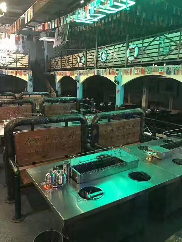 很久以前火山石烧烤桌,电热无烟烧烤炉,白钢台面, 源头厂家