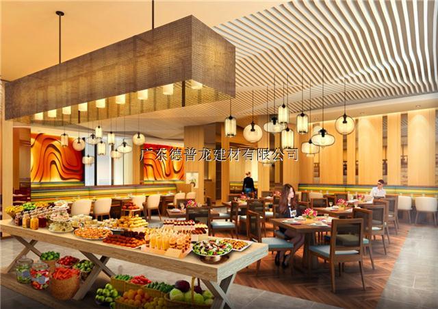 幕墙装饰氟碳铝合金造型铝方通_自助餐厅外墙装饰弧形铝方通