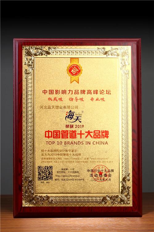 """热烈祝贺蓝天塑业(海天管)荣获""""2019中国管道十大品牌""""称号"""