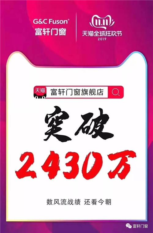 首战告捷,富轩门窗天猫双11销售额突破2430万!