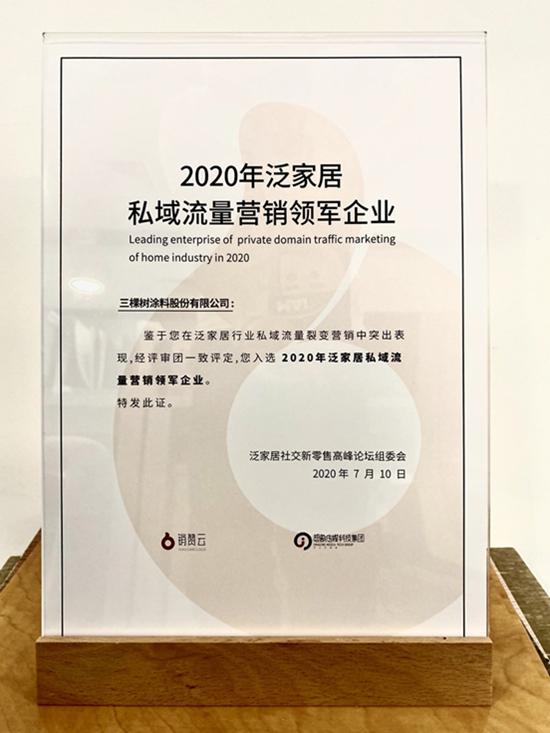 """营销新探索丨三棵树获""""2020年私域流量营销领军企业"""""""