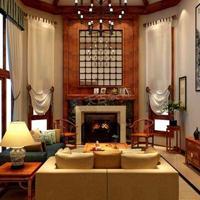 保利高尔夫独栋别墅装修图 新中式风格设计