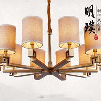 中堂新中式吊灯 客厅现代中式吊灯 全铜新中式灯具