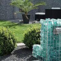 用彩色琉璃/玻璃石块堆装的景观灯光石笼、水景置石