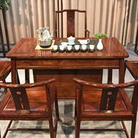 众享家具新中式全实木刺猬紫檀红木茶桌椅组合厂家直销批发泡茶桌