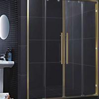 佛山卫浴 厂家供应铝型材光金色两固两移对开吊趟门R030淋浴房