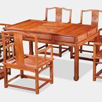 海强红木四海一家茶台七件套缅甸花梨木