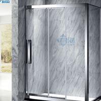 钻石形平开式淋浴屏风  家居不锈钢淋浴房玻璃隔断浴室房