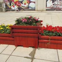 供应防腐木花箱、道路绿化实木花箱