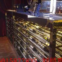 中式不锈钢博古架,欧式不锈钢玫瑰金红酒陈列架