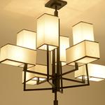 木头羊皮灯 寺庙装修灯具 长方形大吊灯 新中式吊灯