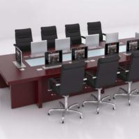 多功能液晶升降视频会议桌 多媒体会议桌生产厂家