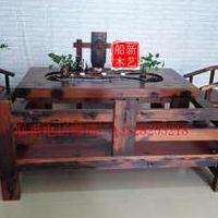 新艺老船木棋盘茶台椅组合船木茶几茶桌办公桌船木沙发