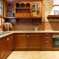 广州韩森派进口实木橱柜门板定制厨房整体橱柜定做不锈钢石英石