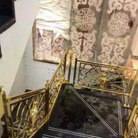 高档会所室内用15厘铝雕镂空花件旋转楼梯扶手
