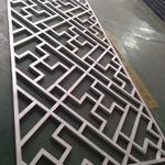 中式仿古铝花格-纪念堂木纹铝花格窗定制