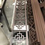 定制木纹色铝合金花格窗-仿古铝制花格网