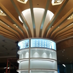定制咖啡厅装饰吊顶波浪形铝方通-弧形铝板格栅