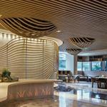 波浪造型铝板吊顶天花-弧形波浪造型铝方通天花材料