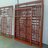 贵州文化园中式铝窗花 仿古木纹铝窗花