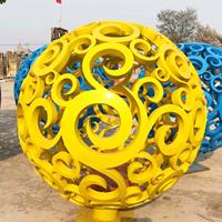 黄色镂空花纹球 不锈钢球雕塑 不锈钢景观球