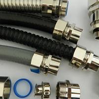 PG16铜镀镍金属软管接头 IP65防水包塑软管端接式锁头