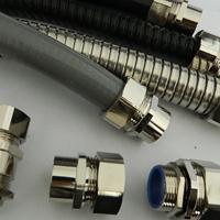 包塑软管连接铜镀镍防水接头M螺纹 金属软管接头