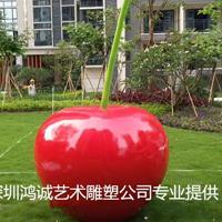 少女心满满的玻璃钢樱桃主题雕塑应季水果展品