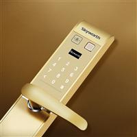 SKYWORTH創維智能電子鎖 黃銅面板 入戶門指紋鎖  防盜門密碼鎖