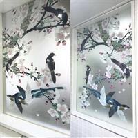 厂家直销艺术玻璃 雕刻玻璃 屏风隔断 电视机 背景墙