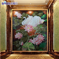 水晶玻璃马赛克剪画屏风玄关过道花卉类精剪拼图背景墙装饰壁画