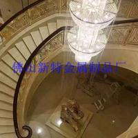 万达定做别墅旋转艺术楼梯扶手护栏 厂家豪华铜铝雕花楼梯栏杆