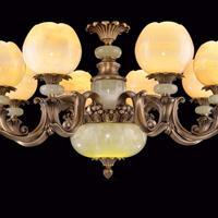 天然玉石吊灯 玉石铜灯 全铜玉石灯 欧式玉石灯具